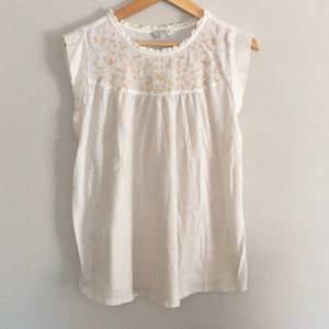 Lucky Brand Cream Embroidered Cap Sleeve Blouse
